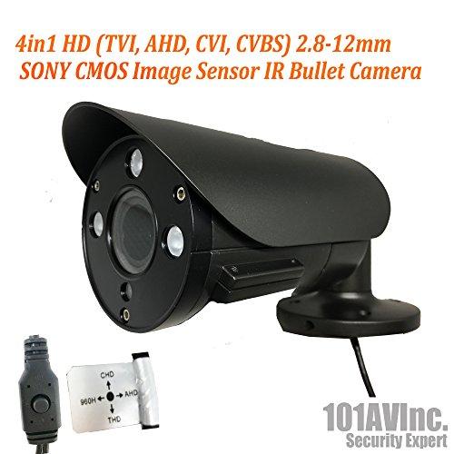 101AV Security Bullet Camera 1080P True Full-HD 4 in 1(TVI, AHD, CVI, CVBS) 2.8-12mm Variable Focus Lens 2.4Megapixel CMOS Image Sensor IR in/Outdoor DWDR OSD Camera (Charcoal)