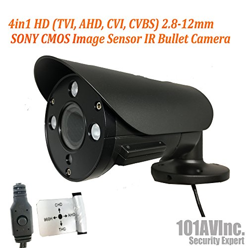 101AV Security Bullet Camera 1080P True Full-HD 4 in 1 TVI, AHD, CVI, CVBS 2.8-12mm Variable Focus Lens 2.4Megapixel CMOS Image Sensor IR in Outdoor DWDR OSD Camera Charcoal