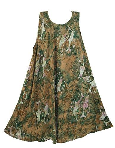 Beautybatik Brown Sleeveless Batik Caftan Summer Tank Dress Cover Up (Sleeveless Lounger)