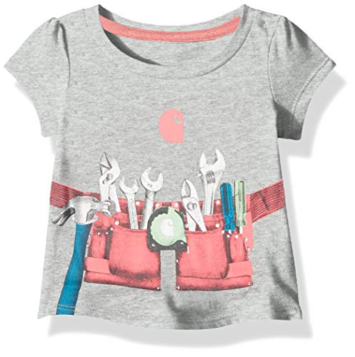 - Carhartt Baby Girls Short Sleeve Cotton Graphic Tee T-Shirt, Tool Belt (Grey Heather), 18M