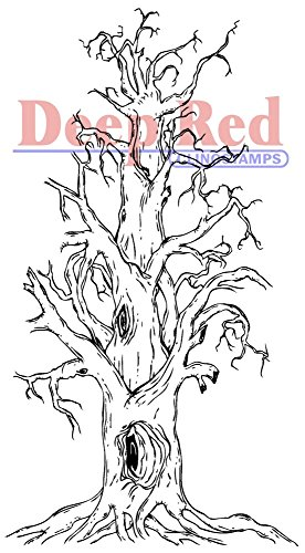 Deep Red Stamps Scary Tree Rubber Stamp