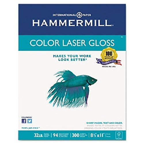 Hammermill 163110 Color Laser Gloss Paper, 94 Brightness, 32lb, 8-1/2 x 11, White, 300 Sheets/Pack - Glossy Presentation Paper