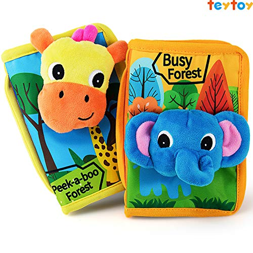 teytoy Baby Quiet Books Animal Cloth Book Infant Soft Activity Books Crinkle and Vibrant Pages 3D Learn Book Toddlers Non Toxic Travel Busy Toy -