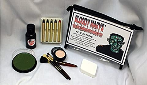 Frankenstein Monster Makeup Kit By Bloody Mary - Special Effects Halloween Costume Decoration - Professional Foundation Makeup, FX Blood, 5 Crayons, Setting Powder, 4 Brushes, Sponge & Zippered (Cheap Special Effects Makeup)