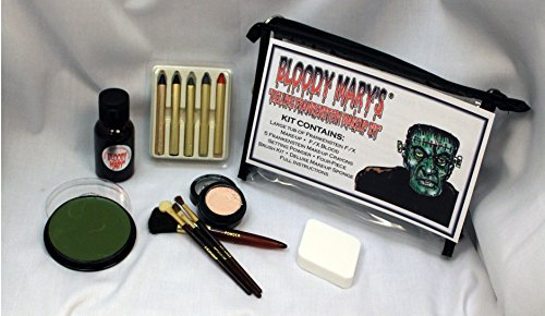 Frankenstein Monster Makeup Kit By Bloody Mary - Special Effects Halloween Costume Decoration - Professional Foundation Makeup, FX Blood, 5 Crayons, Setting Powder, 4 Brushes, Sponge & Zippered (Frankenstein Outfits)
