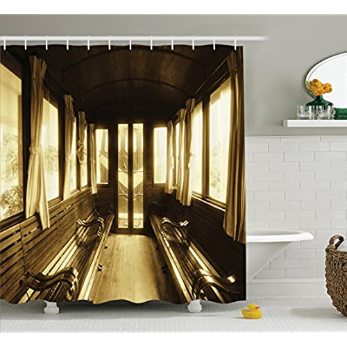 Retro Shower Curtain Antique Decor Set By Ambesonne Vintage Train Salon Inside Historic Transport Windows With Curtains Arched Ceiling