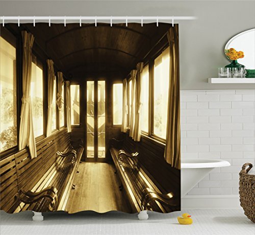 Train Window - Retro Shower Curtain Antique Decor Set by Ambesonne, Vintage Train Salon Inside Historic Transport Windows with Curtains Arched Ceiling, Bathroom Accessories, With Hooks, 69W X 70L Inches, Light Brown