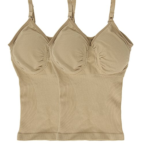 Lucky Commerce Women's Seamless Tailored Tank Tops Shapewear Comfort Devotion Cami Beige M