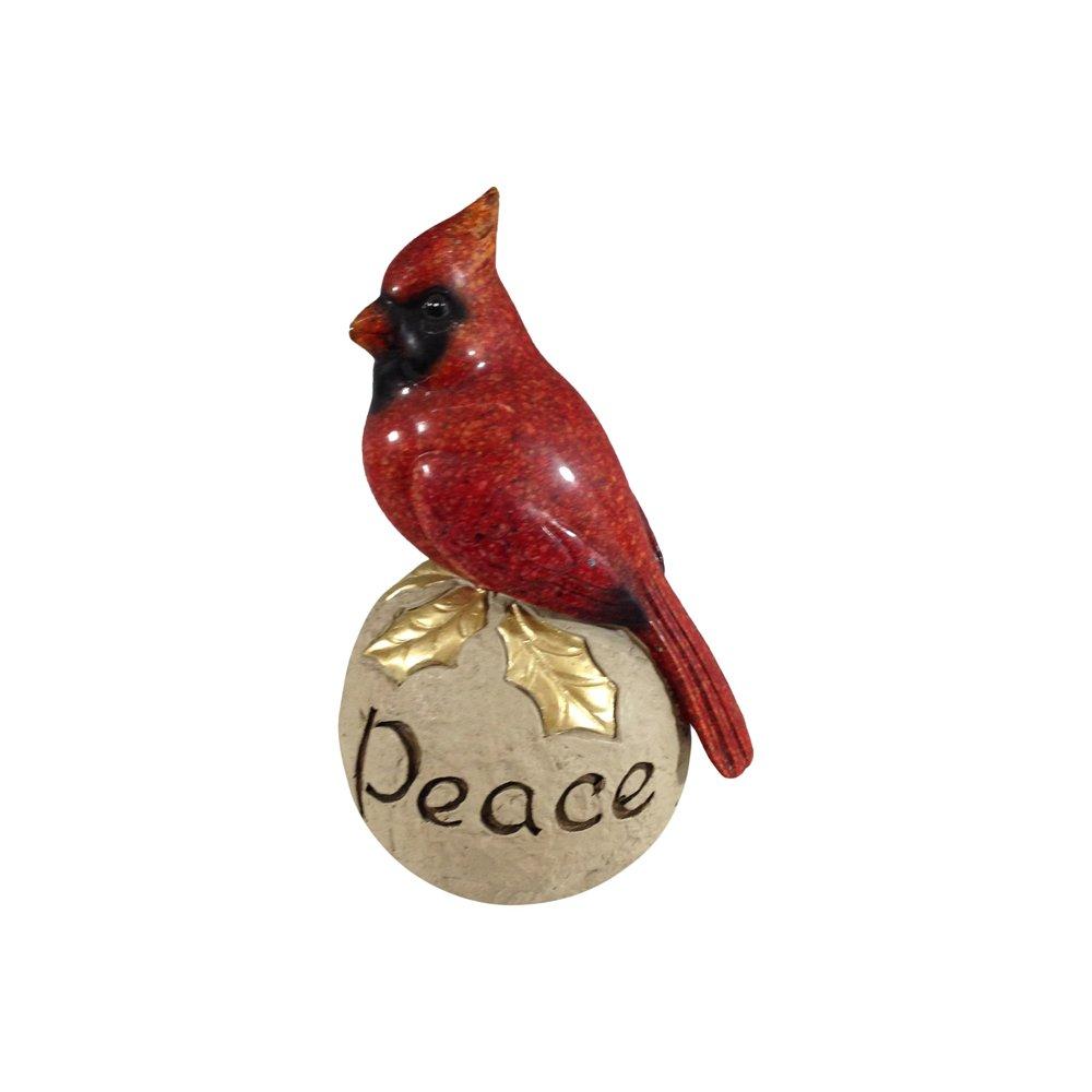 Comfy Hour 6'' Red Cardinal Standing On Peace Stone Pedestal Figurine, High Gloss Bird, Ideal Christmas Decoration
