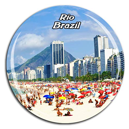 Copacabana Beach Rio de Janeiro Brazil Fridge Magnet 3D Crystal Glass Tourist City Travel Souvenir Collection Gift Strong Refrigerator Sticker