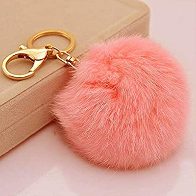 9629a7c81a4e Miraclekoo Rabbit Fur Ball Pom Pom KeyChain Gold Plated Keychain with Plush  for Car Key Ring