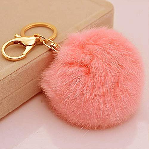 Miraclekoo Rabbit Fur Ball Pom Pom KeyChain Gold Plated Keychain with Plush for Car Key Ring or Handbag Bag Decoration (Orange Pink)