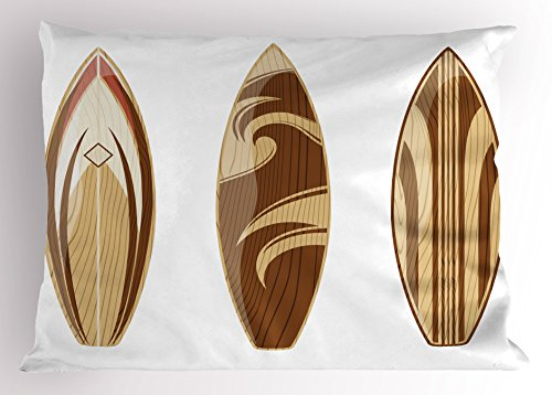 Lunarable Surfboard Pillow Sham, Wooden Surfboards Adventurous Wood Color Natural Pattern Remote Shore, Decorative Standard Size Printed Pillowcase, 26 X 20 inches, Sand Brown Caramel by Lunarable (Image #2)