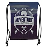 Custom Printed Drawstring Sack Backpacks Bags,Adventure,Adventure Logo with a Motivational Quote Hatchets and Bear Mountain Landscape Decorative,Stale BlueSoft Satin,5 Liter Capacity,Adjustable Strin