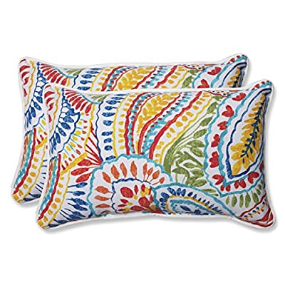 Pillow Perfect 572581 Outdoor Ummi Rectangular Throw Pillow, Set of 2, Multicolored - Includes two (2) outdoor pillows, resists weather and fading in sunlight; Suitable for indoor and outdoor use Plush Fill - 100-percent polyester fiber filling Edges of outdoor pillows are trimmed with matching fabric and cord to sit perfectly on your outdoor patio furniture - patio, outdoor-throw-pillows, outdoor-decor - 51RNBbd0XgL. SS400  -