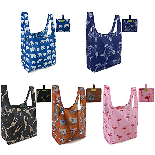 Reusable Shopping Tote Bags 5 Pack Large 50LBS Foldable Grocery Bags With Pouch Ripstop Washable Lightweight Cute Animal Designs Dark Blue Turtle Pink Flamingo Blue Elephant Brown Cat Black Giraffe
