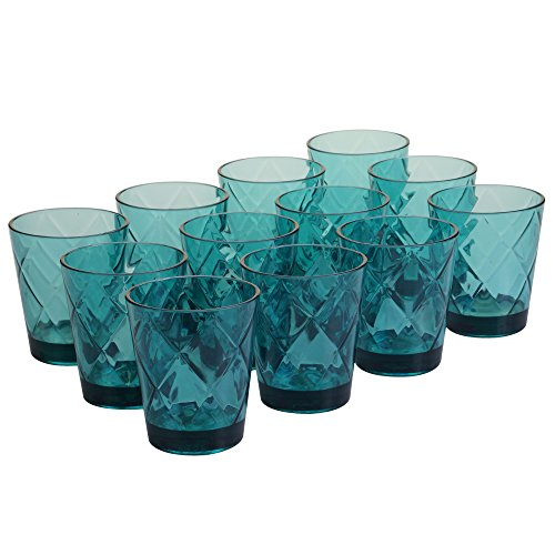 Certified International Teal 15 oz Acrylic Double Old Fashion Drinkware (Set of 12), Teal -