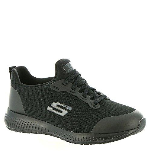 Skechers for Work Women's Squad SR Food Service Shoe,Black Flat Knit,7.5 M US