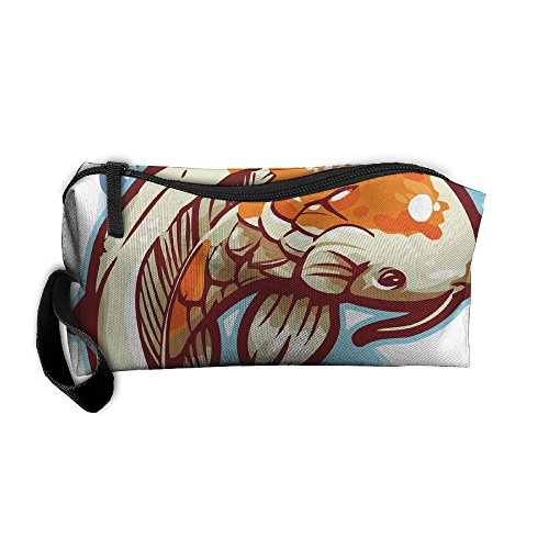 Dancing Koi Fish Storage Tools Canvas Zipper Multi-function Organization Bag With Handle