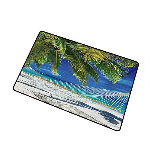 Becky W Carr Beach Welcome Door mat Hammock on The Sandy Beach Between Palm Coconut Overlooking Sea Nature Art Door mat is odorless and Durable W31.5 x L47.2 Inch,Cream Navy Green]()