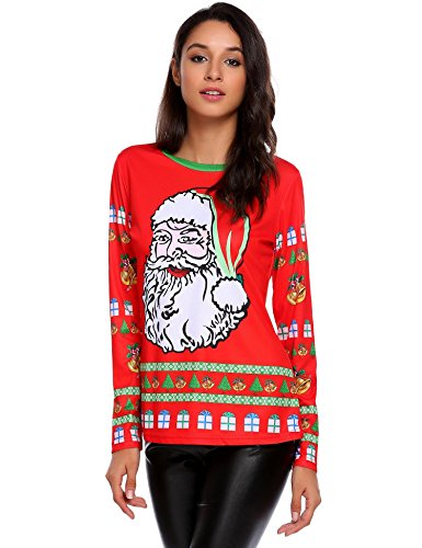 - zeagoo Women's Christmas Snowman and Snowflakes Printed Knit Tops
