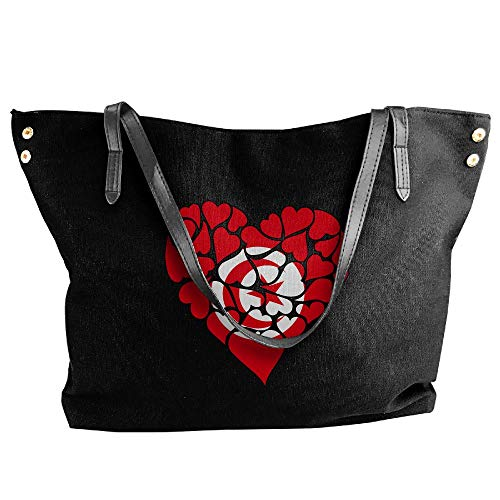 Tunisia Shoulder Large Love Heart Black Canvas Flag Handbag Tote Bags Large Women's Capacity Ufpaxwqn