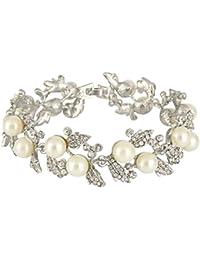 Bridal Silver-Tone Simulated Pearl Flower Leaf Clear Austrian Crystal Bracelet