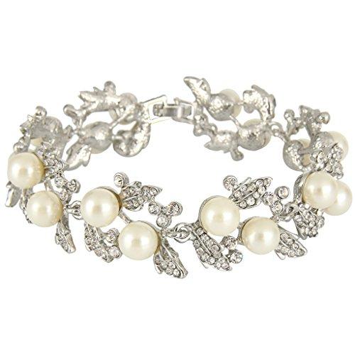 EVER FAITH Bridal Silver-Tone Ivory-color Simulated Pearl Flower Leaf Clear Austrian Crystal Bracelet