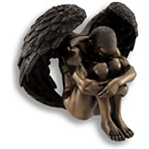 Things2die4 Resin Statues Nude Male Angel Resting Head On Knees Sculpted Bronzed Statue 5.75 X 5.13 X 4.5 Inches Bronze