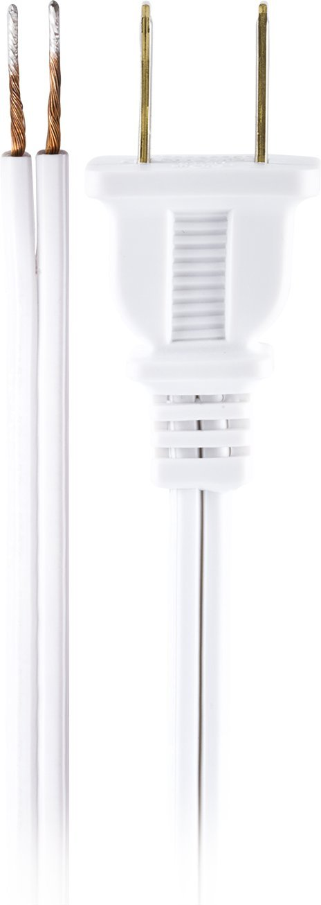 GE Lamp Cord Set with Molded Plug, 8-Foot, White 54475