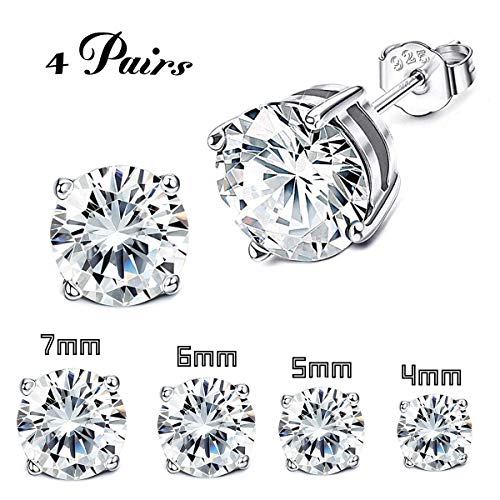 (Milacolato 4 Pairs Sterling Silver Stud Earrings 18K White Gold Plated Round Cubic Zirconia Classic Basket Prong Set Earrings for Men Women 4-7mm)