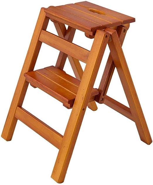 NSHUN Escalera de 2 peldaños, Resistente, portátil, Plegable, Escalera de Madera, Taburete de Escalera Antideslizante, escalones Plegables compactos, con Alfombrillas Antideslizantes: Amazon.es: Juguetes y juegos
