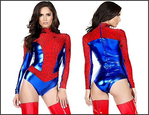 Shiny Metallic Red Long Sleeve Spider Girl/Women Super Hero Costume (Iron Man Cosplay Armor)