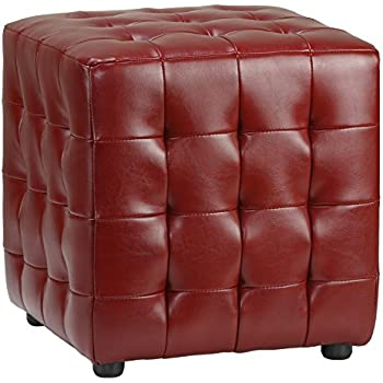 diamond sofa zen collection bonded leather tufted cube accent ottoman red kitchen. Black Bedroom Furniture Sets. Home Design Ideas