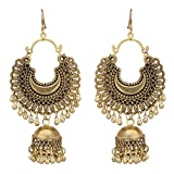 Jwellmart Afghani Bohemian Tribal Style Oxidized Drop Dangle Indian Earrings for Women and Girls (Gold)