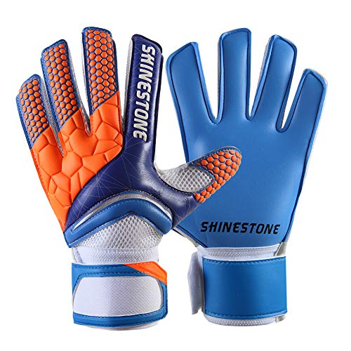 Shinestone Goalkeeper Goalie Gloves, Youth Adult Kids Soccer Football Goalkeeper Goalie Gloves with Strong Grip and Finger Protection to Prevent Injuries, Size 5-10, 4 Colors(Blue, Size 9) (Kids Soccer Gk Gloves)