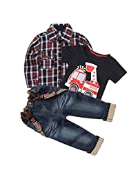 Mary ye 3Pcs Boy Handsome Outfit Set Plaid Shirt + T-Shirt + Suspender Jean Sets