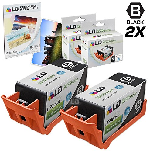 LD © Remanufactured Replacement for HP 920XL / 920 2PK CD975AN Black Ink Cartridges + FREE 20PK 4X6 LD Photo Paper