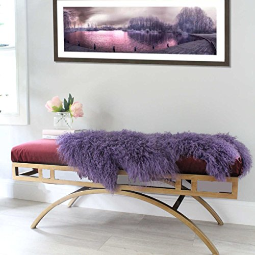 ELuxury Home Purple Violet Mongolian Sheepskin Fur Hide pelt Tibetan Lambskin Throw Rug