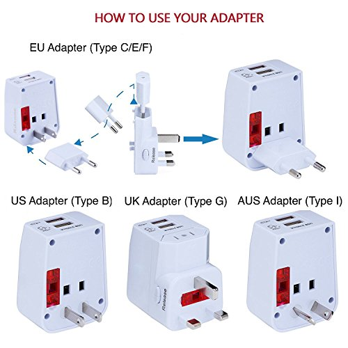 Rdxone Universal World Travel Adapter with 2 USB- Europe, Italy, Ireland, UK, US Plug Adapter- Over 150 Countries& Travel Power Converter Adapter Wall Charger Plug Kit for iPhone, Android (White) Photo #9