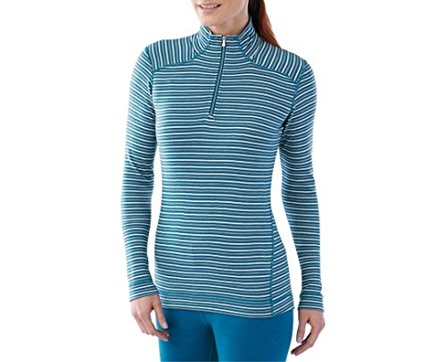 Smartwool Women's NTS Mid 250 Pattern Zip T (Glacial Blue Heather) Medium by SmartWool