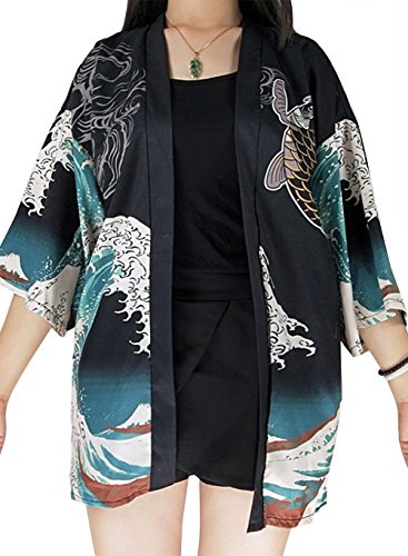 Women's 3/4 Sleeve Japanese Shawl Kimono Cardigan Tops Cover up OneSize US S-XL