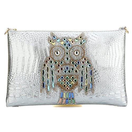 Party Rhinestones Embossed Silver Crocodile Printed Purse Handbags Womens Skin Prom Clutch Owl Cocktail zRww1q