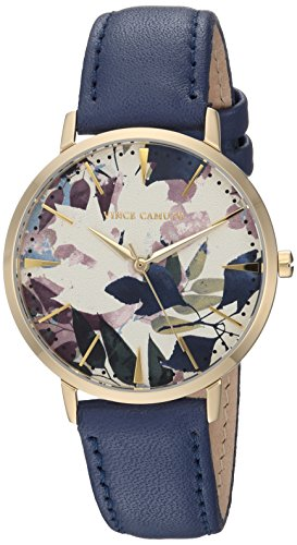Vince Camuto Women's VC/5348CRDB Floral Pattern Dial Dark Blue Leather Strap Watch