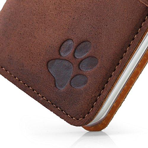 APPLE iPhone 6 Plus / 6s Plus - Hund Pfote - Premium Ledertasche Schutzhülle Wallet Case aus Echtesleder mit Kreditkarten / Notizen Fachern Farbe Nussbraun von Surazo® Vintage Kollektion Apple iPhone