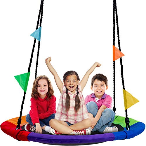 "(Sorbus Saucer Tree Swing in Multi-Color Rainbow – Kids Indoor/Outdoor Round Mat Swing – Great for Tree, Swing Set, Backyard, Playground, Playroom – Accessories Included (Round – 40""))"
