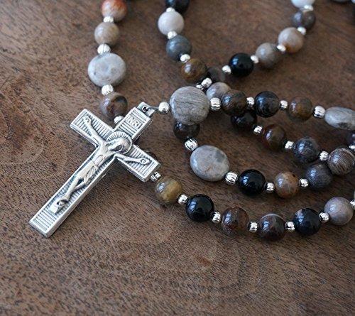 5-decade-catholic-rosary-featuring-petrified-wood-fossil-gemstone-beads