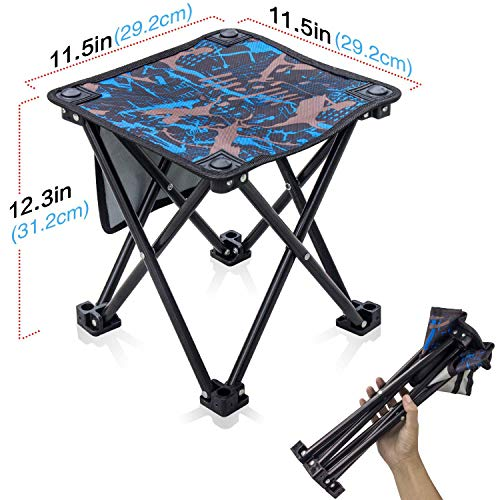 (Small Folding Stool Portable Mini Step Slacker Seat Stool Camping Folding Chairs Outdoor Collapsible Camp Stool Fishing Camp Travel Hiking Beach Garden BBQ Lightwight Waterproof Stool Camouflage Blue)