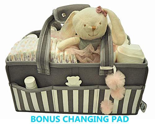 Kids Paradise Baby Diaper Caddy Organizer with Bonus Changing Pad, Large Portable Nursery Storage Basket and Car Organizer, Baby Shower Gift