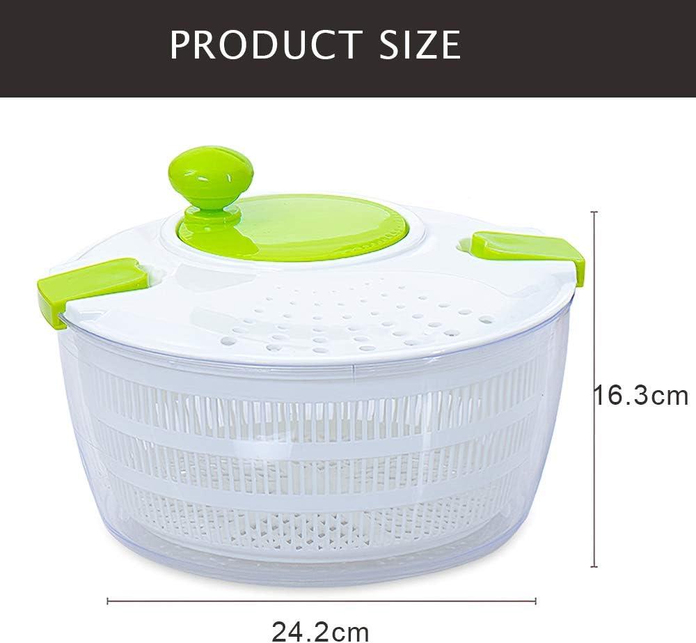 Decdeal Smile Mom D650 Salad Spinner Manual Lettuce Dryer Crank Handle Locking Lid for Vegetable Fruit Salad